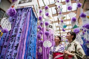 前橋七夕まつりにて吊るされる笹飾りとそれを仰ぎ見る浴衣姿の女性